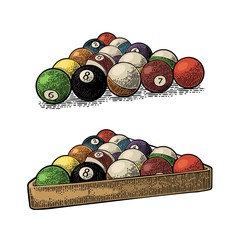 Billiard balls with number in triangle with shadow. Vintage engraving