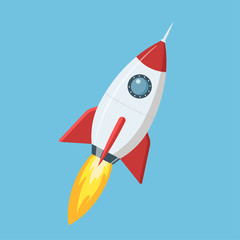 Flying cartoon rocket in flat style isolated on blue background. illustration.