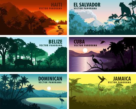 vector set of panorams countries of caribbean and Central America - Haiti, Jamaica, Dominicana, Cuba, El Salvador, Belize.