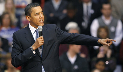 US Democratic presidential candidate Senator Barack Obama speaks during a rally at the Ohio State University in Columbus