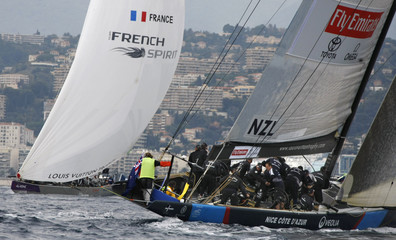Emirates Team New Zealand competes against Team French Spirit during the first day of the Louis Vuitton Trophy in Nice