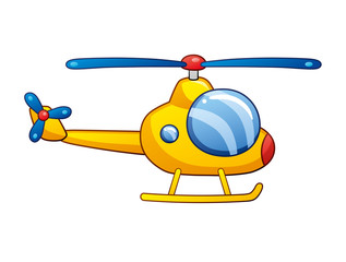 Yellow helicopter isolated.