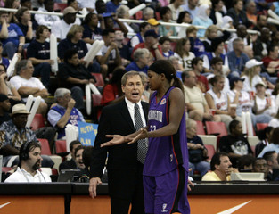 Sacramento Monarchs DeMya Walker gestures to head coach John Whisenant in Game 5 of their WNBA Finals against the Detroit Shock in Detroit