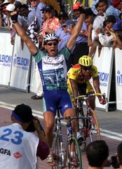 GERMAN JAN BRATKOWSKI CELEBRATES AFTER WINNING THE STAGE 12 OF THE MALAYSIA'S LE TOUR DE LANGKAWI ...