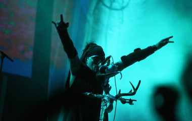 Al Jourgensen, lead singer of electronic metal band Ministry, performs at the Metalway festival in Gernika