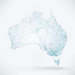 Wall Mural - Abstract Telecommunication Network Map - Australia
