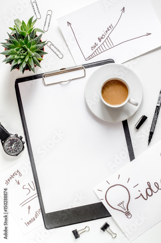 business plan development with board and coffee desk background top