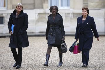France's Junior Minister for Minister for Labour Letard, Secretary of State for Human Rights Yade and Minister for Health Bachelot-Narquin arrive in Elysee Palace