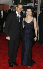 Actress Carla Gugino and Kenneth Cole arrive at Metropolitan Museum of Art Costume Institute Gala in New York