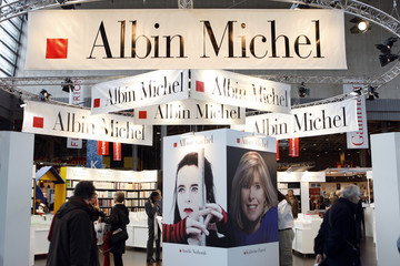 The logo of France's publishing house Albin Michel is seen at the annual Paris book fair