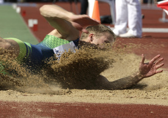 Tonis Sahk of Estonia grounds to win the men's long jump event at the EAA permit meeting in Kaunas