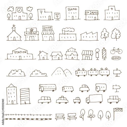 かわいい手描き地図用建物乗り物アイコンイラストfotoliacom の