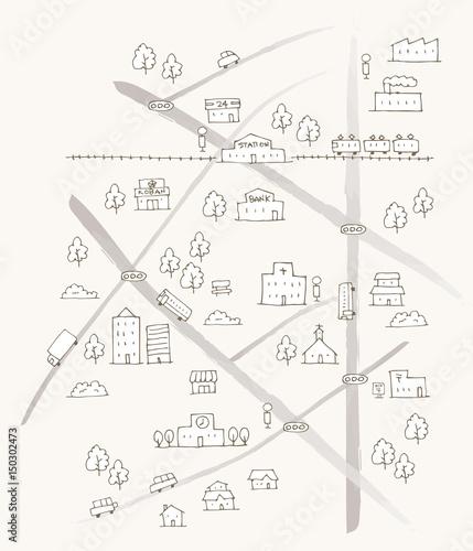 かわいい手描きシンプル雨地図イラストfotoliacom の ストック画像と
