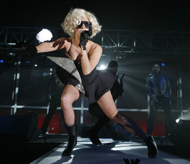"U.S. singer Lady Gaga performs during the launch of the ""AMPed"" mobile music download service by SingTel in Singapore"