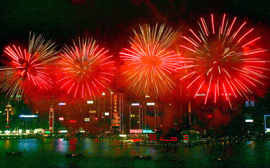 Fireworks explode over Hong Kong's Victoria Harbour to celebrate Lunar New Year.
