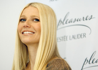 Actress Paltrow smiles during unveiling of Estee Lauder's Pleasures by Gwyneth Paltrow in Beverly Hills