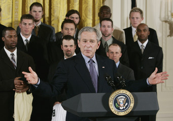 U.S. President George W. Bush speaks during a ceremony with World Series Champions Chicago White Sox in Washington