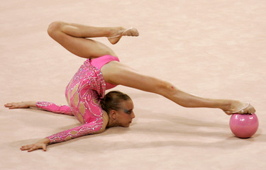South Africa's Sandler performs individual routine in the rhythmic gymnastics at the Athens 2004 ...