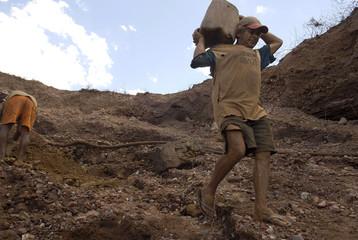 "Brazilian ""garimpeiros"" or gold prospectors mine for the precious metal in the Amazon Basin in Curionopolis"