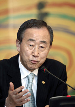 United Nations Secretary-General Ban speaks at a briefing after UN Conference in Manama
