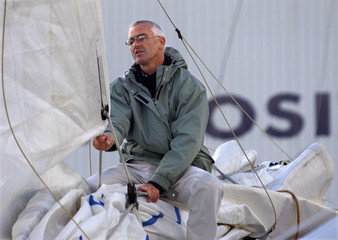 FRENCH SKIPPER YVES PARLIER PRIOR TO THE VENDEE GLOBE CHALLENGE SAILING RACE AT LES SABLES D'OLONNE.