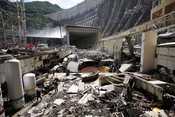 A general view shows the damaged dam of Sayano-Shushenskaya hydroelectric power station near Siberian village of Cheryomushki