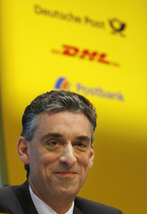 Appel CEO of German postal and logistics group Deutsche Post AG addresses the company's annual news conference in Bonn
