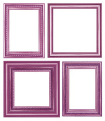 scollection of vintage purple and wood picture frame, isolated on white