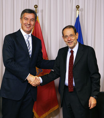 Montenegro's Prime Minister Djukanovic meets Eu foreign policy chief Solana in Brussels