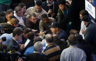 """New York Yankees' Alex Rodriguez speaks to reporters during """"workout day"""" before Major league Baseball's 2009 World Series between the New York Yankees and the Philadelphia Phillies"""