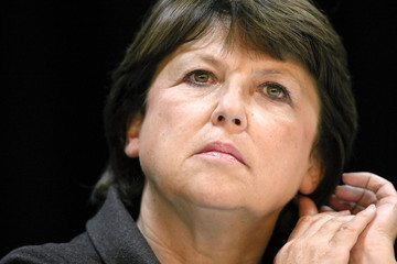 Former French Socialist Labour Minister Aubry attends a political rally in Lyon