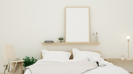 Wall Mural - The interior Bedroom, space minimal design in apartment - 3D Rendering