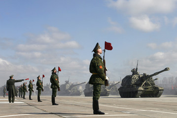 Mobile artillery units take part in a rehearsal for the May 9 Victory Day parade in Alabino outside Moscow