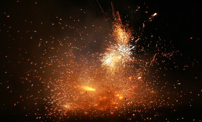 Fire crackers fired by Indian Border Security Force soldiers burst in Panthachowk.