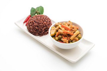 Panaeng Curry with pork and berry rice