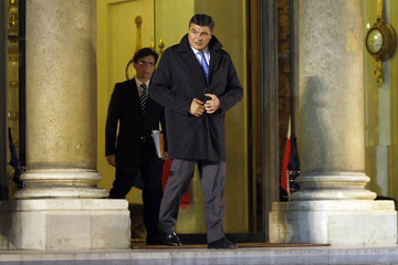 Former judo champion and new UMP political party deputy  David Douillet leaves the Elysee Palace in Paris