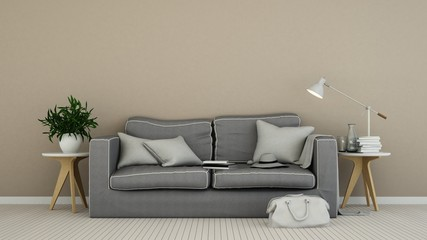 The interior living minimal space in apartment - 3D Rendering