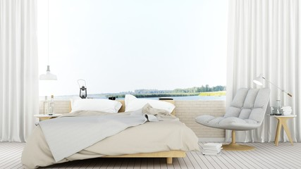 Bedroom space in hotel point of view nature - 3D Rendering