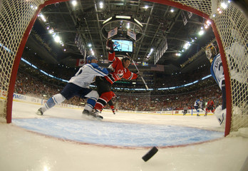 Canadian Joe Thornton celebrates during the World Cup of Hockey championship game in Toronto.