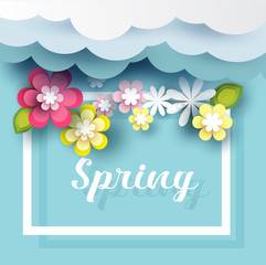 spring background, with flower, cloud, for  promotion, paper art style,vector