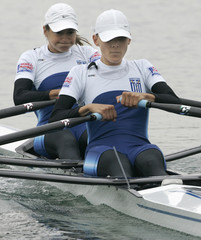 Greece's Biskitzi and Tsiavou row during the women's lightweight double sculls semi-final of the Rowing World Championships in Munich