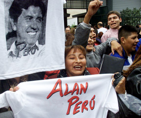 SUPPORTERS OF PERUVIAN PRESIDENTIAL CANDIDATE GARCIA CHEER.