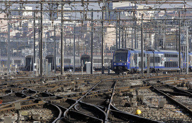 Trains are seen on tracks at Marseille's railway station