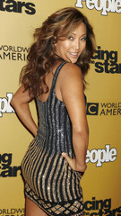 """Dancing with the Stars"" judge Carrie Ann Inaba poses at the ""Dancing with the Stars"" 100th show party in Hollywood"