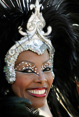 A Brazilian resident in Florida perform at the carnival celebration in the downtown of Miami.