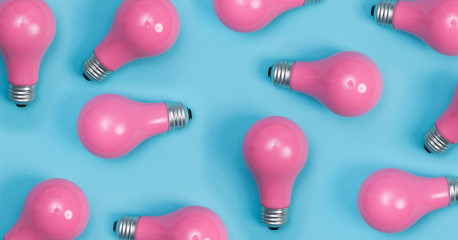 Pink painted lightbulbs