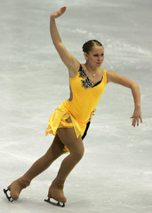 Lina Johansson of Sweden performs at the European figure skating Championships in Lyon