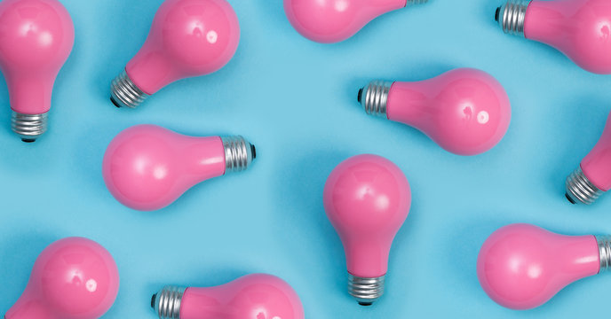 Pink painted lightbulbs