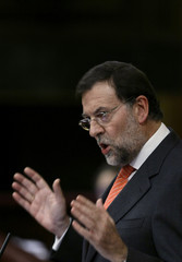 Spain's main opposition leader Rajoy delivers a speech during 2009 budget debate in Madrid