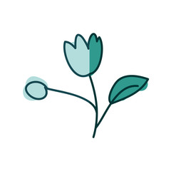 watercolor hand drawn silhouette of tulip flower with stem and leaf on aquamarine vector illustration